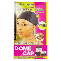 Argan + Black Olive Treated Dome cap with Elastic & Combs